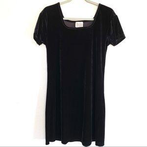 Vintage Black Velvet Square Neck Shift Dress